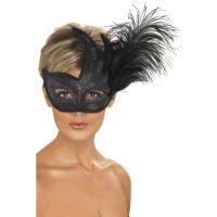 Črna pernata maska Colombina